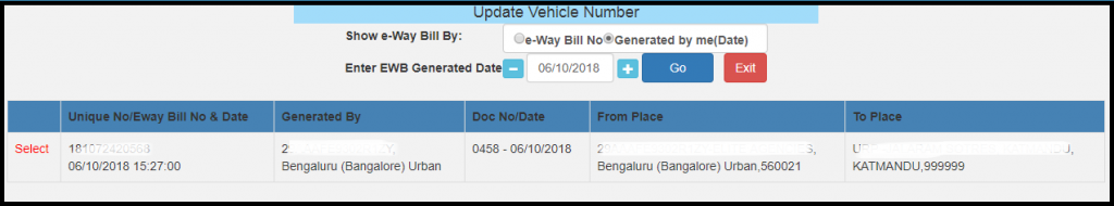 E-way bill generation 17
