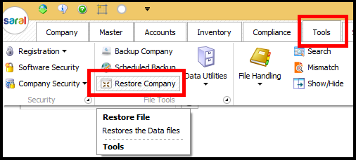 Backup and Restore in Saral Accounts and Billing - restore company