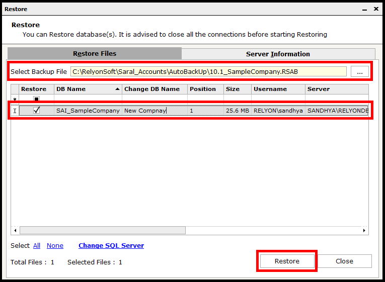 Backup and Restore in Saral Accounts and Billing - click on restore