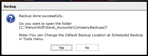Backup and Restore in Saral Accounts and Billing -backup confirmation