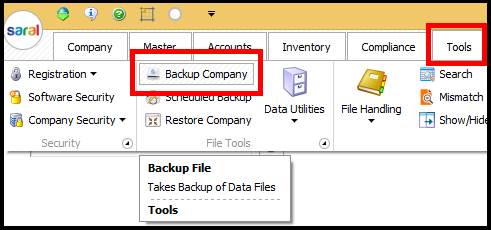 Backup and Restore in Saral Accounts and Billing - bulk backup