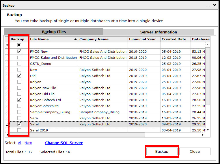 Backup and Restore in Saral Accounts and Billing- Select the companies