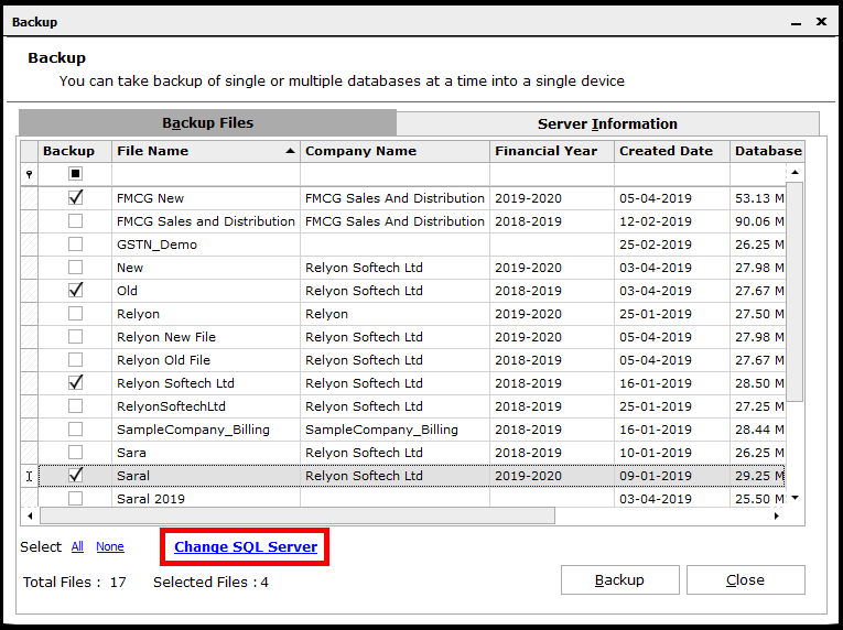 Backup and Restore in Saral Accounts and Billing - click on change SQL server