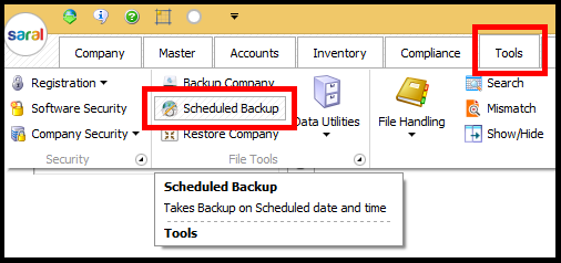 Backup and Restore in Saral Accounts and Billing - scheduled backup