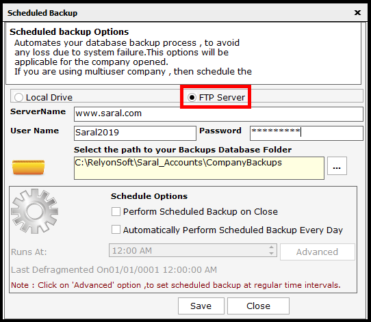 Backup and Restore in Saral Accounts and Billing - set the path to FTP server