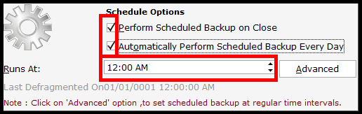 Backup and Restore in Saral Accounts and Billing - set backup periodicity