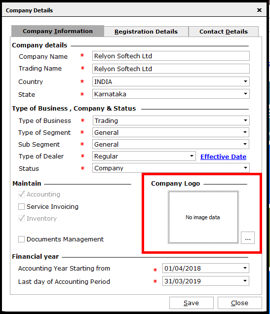Logo settings for reports in Saral - select the company logo