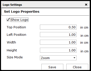 Logo settings for reports in Saral - show logo