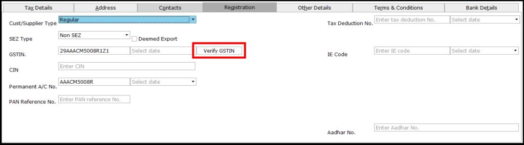 Ledger Creation in saral - verify GSTIN