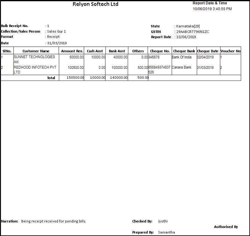 Bulk Receipt Creation in Saral - Report Details
