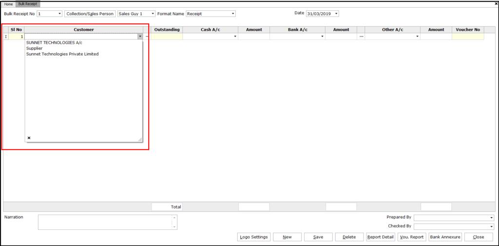 Bulk Receipt Creation in Saral - customer selection