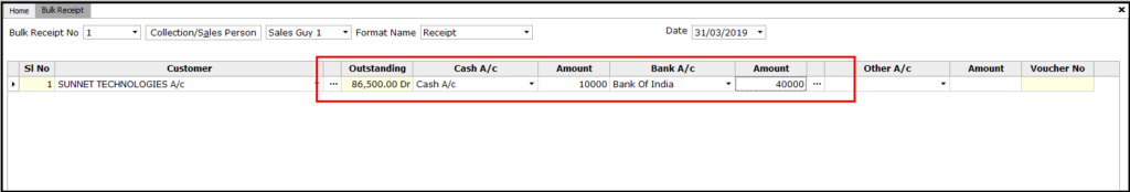 Bulk Receipt Creation in Saral - enter amount
