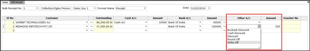Bulk Receipt Creation in Saral - Cash Discount or Write off