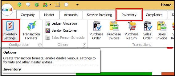 Item Master Creation in Saral software - go to inventory settings