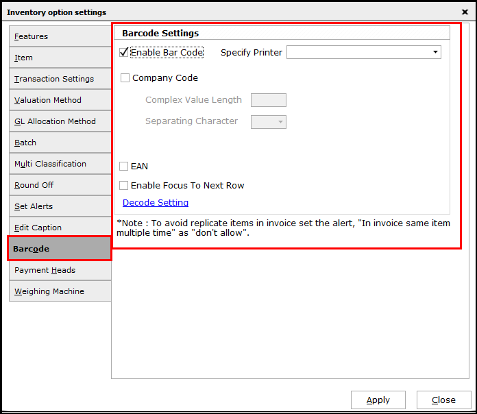 Item Master Creation in Saral software - enable barcode
