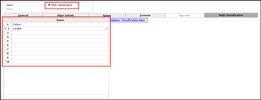 Item Master Creation in Saral software - enter classification details
