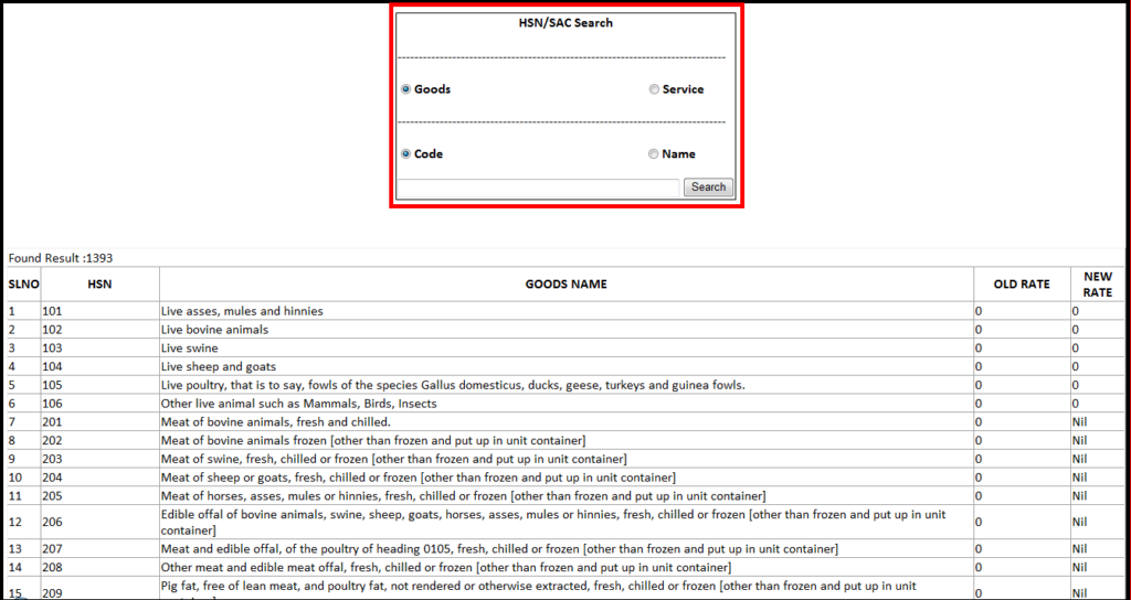 Item Master Creation in Saral software - to search HSN code