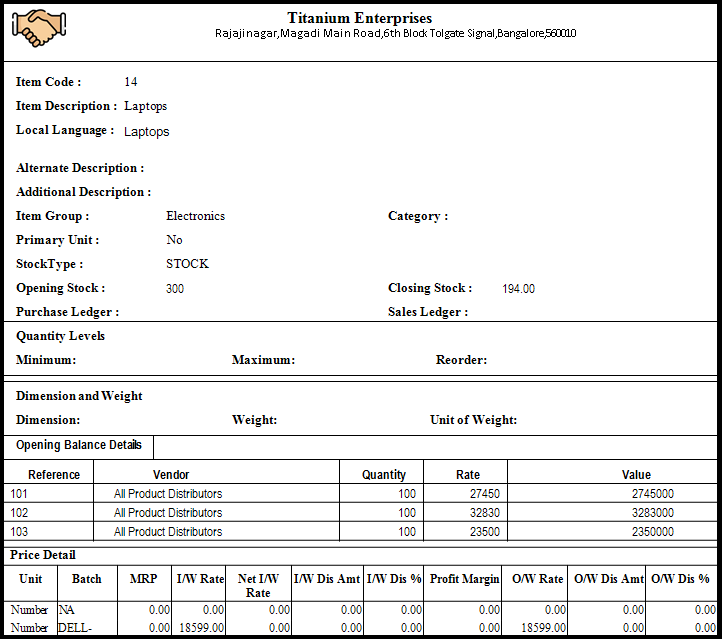 Item Master Creation in Saral software - item report will be generated