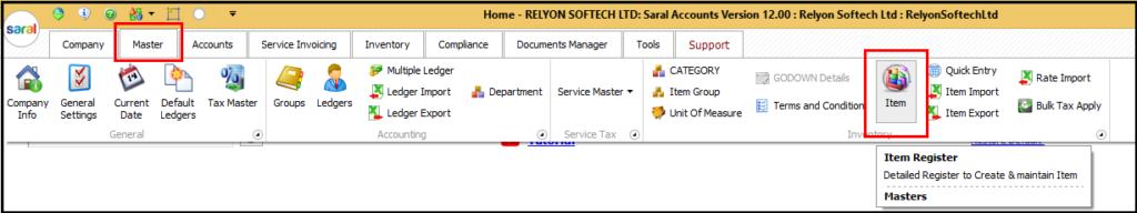 Item Master Creation in Saral software - add item details
