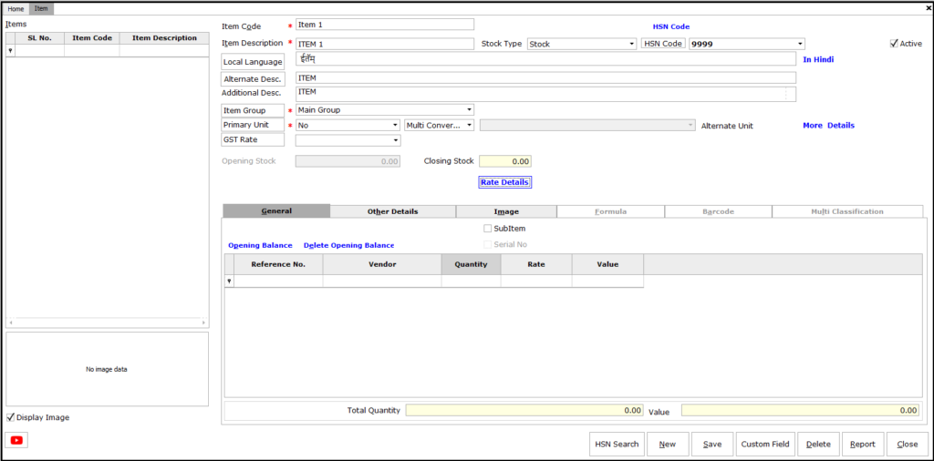 Item Master Creation in Saral software - item details entry window is displayed