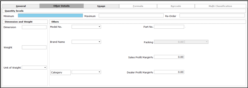 Item Master Creation in Saral software - other details