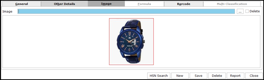 Item Master Creation in Saral software - image can be uploaded