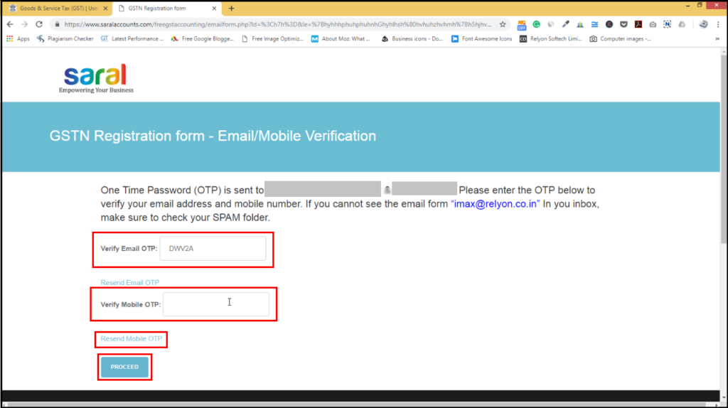download free accounting software from GSTN - Verify email ID and mobile number