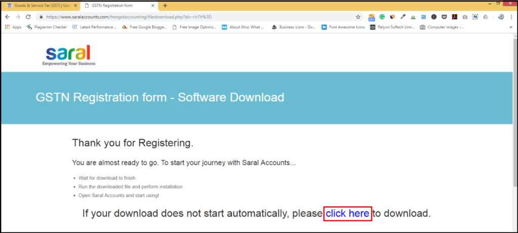 download free accounting software from GSTN - click here on the screen