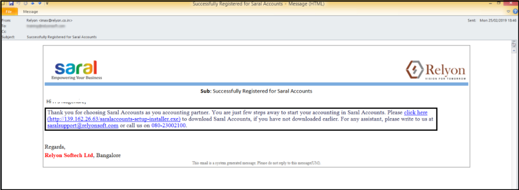 download free accounting software from GSTN - confirmation email registered to Saral Accounts