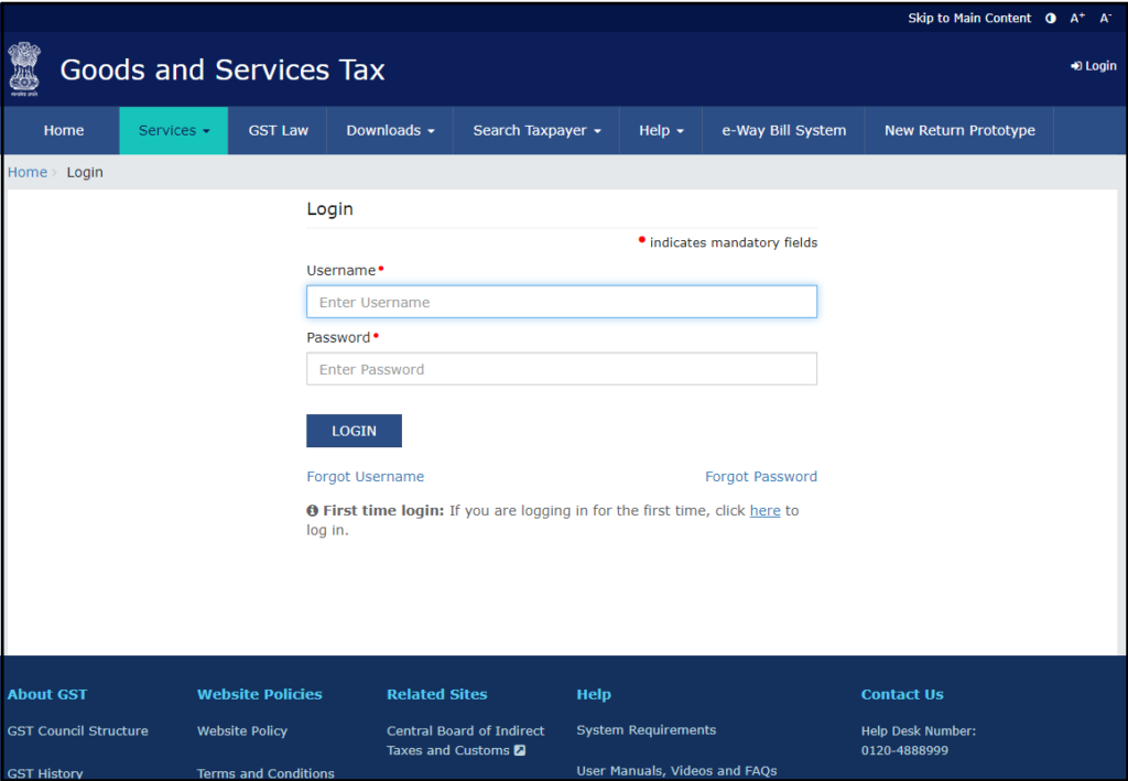download free accounting software from GSTN - login with login credentials