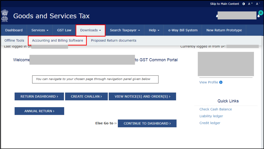 download free accounting software from GSTN - click on downloads