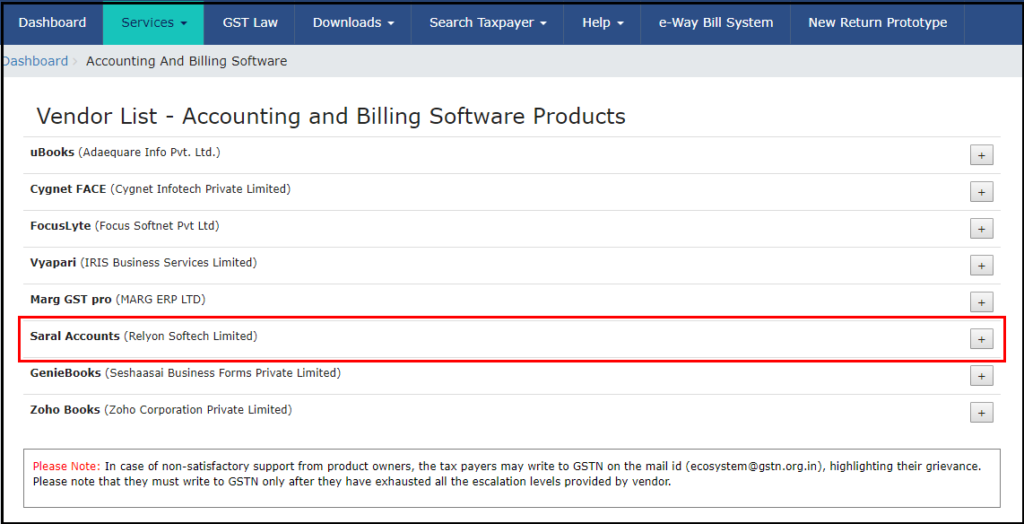 download free accounting software from GSTN - vendors list click on Saral Accounts