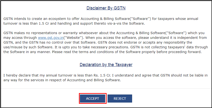 download free accounting software from GSTN - Click on accept