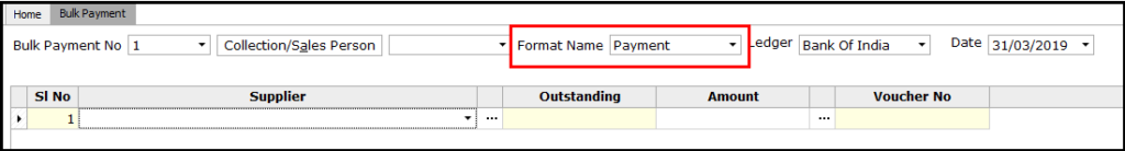 4. Bulk Payment voucher creation - Select format name