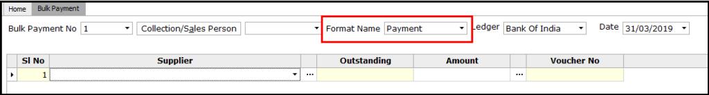4. Bulk Payment voucher creation - Select format name