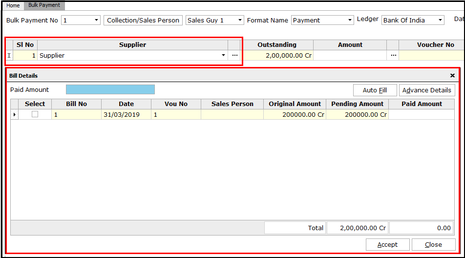 6. Bulk Payment voucher creation - Select the supplier