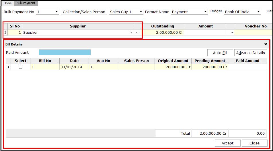 6. Bulk Payment voucher creation - Select the supplier