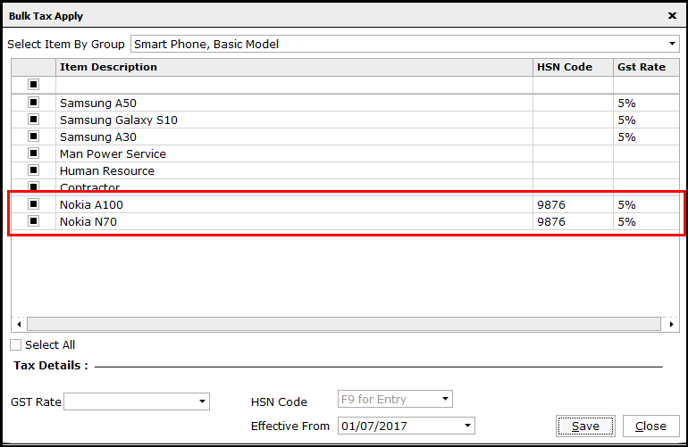 8. Bulk Tax Rate Application- Tax rate and HSN code