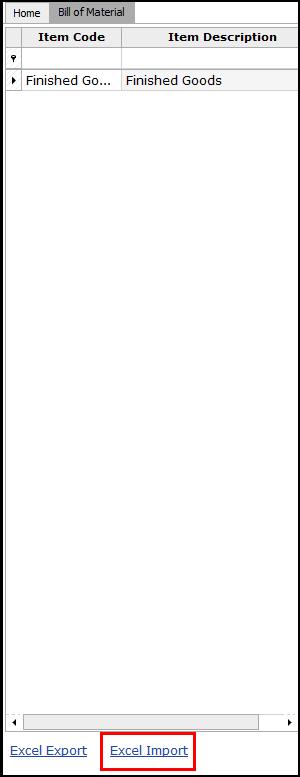 10.Bill of Material-Excel import
