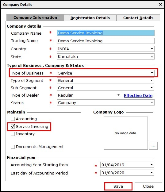 1.Service Invoicing in Saral-company master window