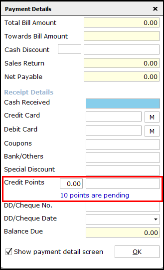 11.Loyalty Points in Saral-Payment details