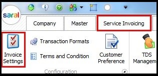 3.Service Invoicing in Saral-Invoice settings