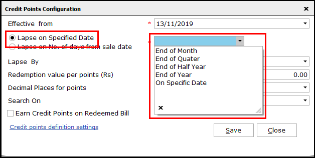 4.Loyalty Points in Saral-lapse on specified date