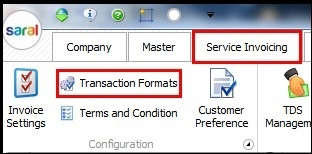 1.Service invoicing in Saral- Transaction formats.