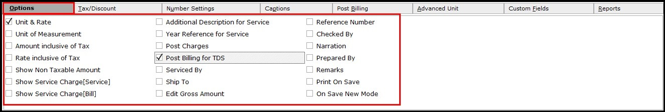 3.Service invoicing in Saral- Options