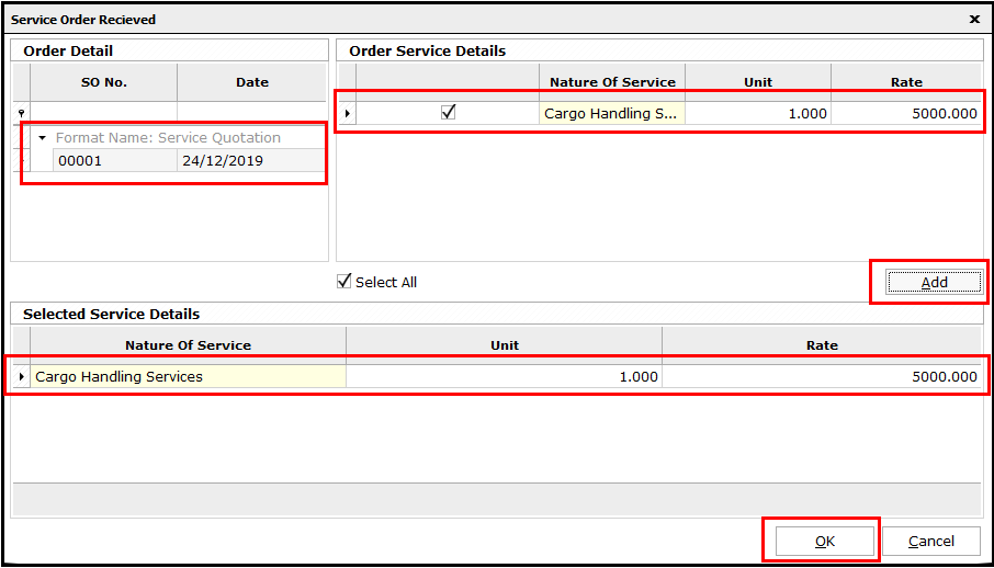 4.Service Invoicing in Saral-Select quotation