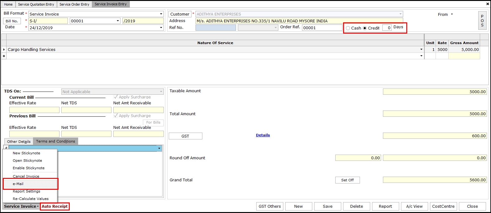 7.Service Invoicing in Saral-Email