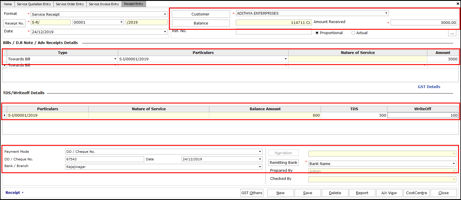 8.Service Invoicing in Saral-Receipt