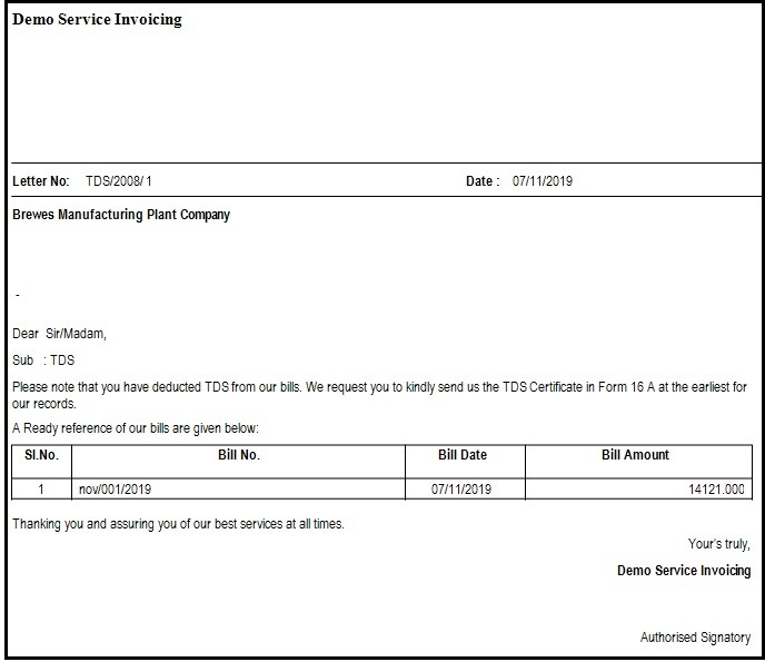 12.1.Service Invoicing in Saral-Preview