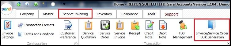 13.Service Invoicing in Saral-Bulk